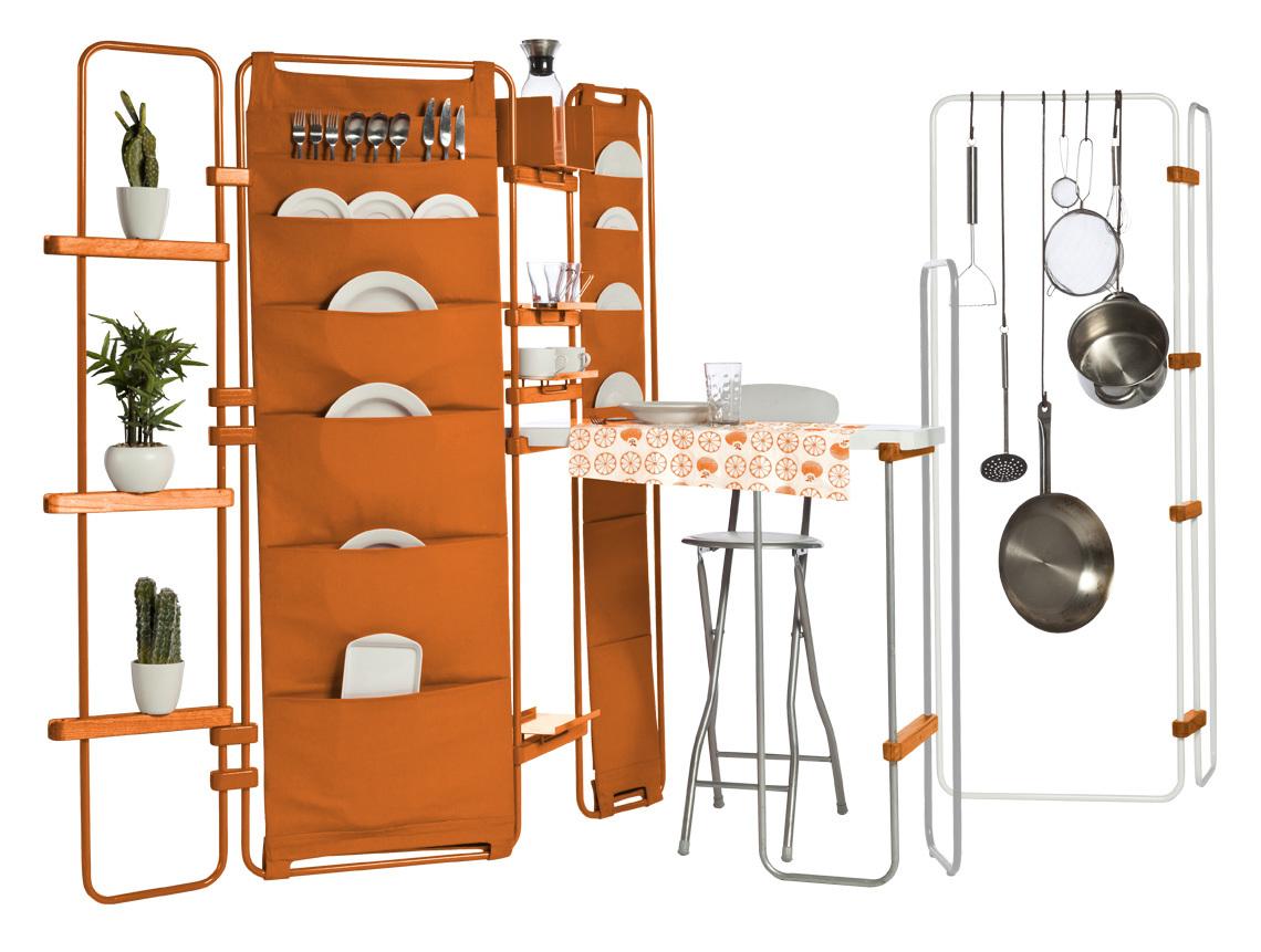 一人暮らしにぴったりのミニマルな家具「Lynko modular furniture system」は、フレームの家具。そこに様々なオプショナルパーツを取り付けることで、自分の暮らしにベストフィットする家具を、自らデザインできるのが最大の魅力です。4