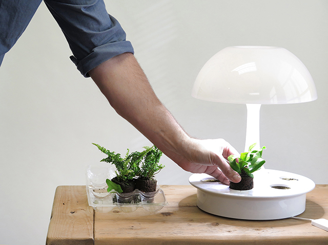 植物が育ちやすい光を与えるボタニカルな照明器具「Ambienta Table Lamp」をご紹介。部屋の照明とは別に、植物育成用のLEDライトは3段階切り替えることができ、日当たりの悪いキッチンでもハーブなどの植物を育てやすい仕様です。6つの植物を育てられます。