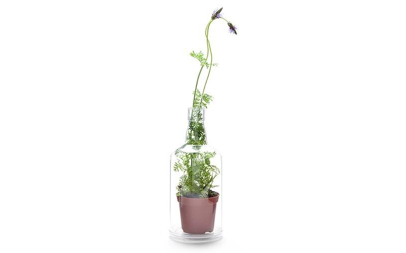 ユーモアあふれる雑貨をデザインするPELEG DESIGNがデザインした、底が抜けて好きなものを入れて飾れるペットボトル「Impossible Bottle」を紹介します。部屋に合わず置き場所に困っているもらいものや植物など、このボトルに入れたらなんだか特別感が出ます。植物も入れられそうです。