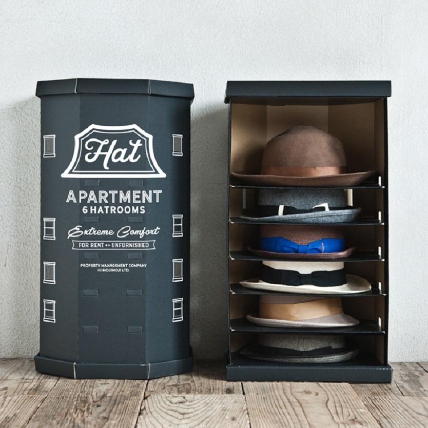 ニューヨークのアパートをテーマに制作された組み立て式の収納ボックス「HAT APARTMENT」を紹介。6個の帽子が一気に収納できるアイテムだ。それぞれの帽子スペースが頑丈な構造で保たれているので、重さでつぶれてしまうことはない。かさばる帽子もすっきり。
