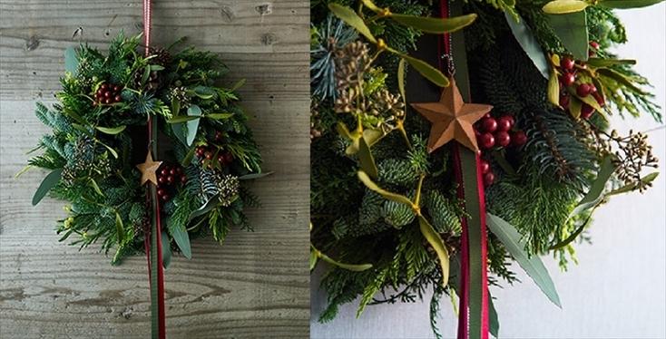 本物の木を使ったリースを探しているなら、machi-yaに出店しているARIGATO GIVINGの「オリジナルのクリスマスリース&ブーケ」がオススメだ。玄関先を彩る華やかなクリスマスリースは、本物のモミの木や月桂樹、香りの良い枝木を使って、プロのフラワーコーディネーターが丁寧にアレンジしている。