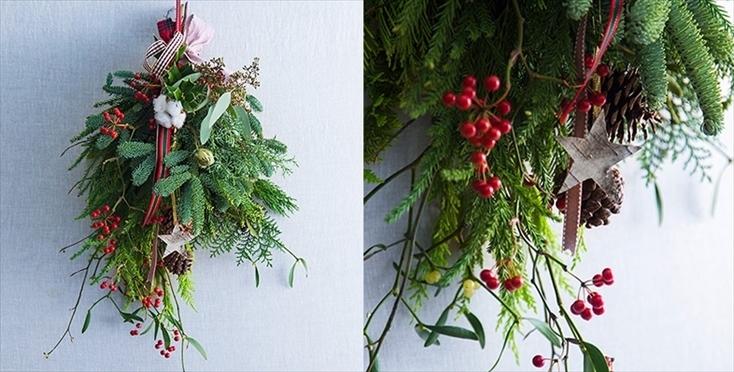 せっかく玄関を飾り付けるなら、それに合わせて室内も飾りたいところ。ARIGATO GIVINGでは、生の木の「クリスマスブーケ」もオーダー可能だ。森の中にいるようなフレッシュな香りを、部屋の中で楽しむことができる。ちなみにドイツでは、このように枝が下に伸びるアレンジが主流のようだ