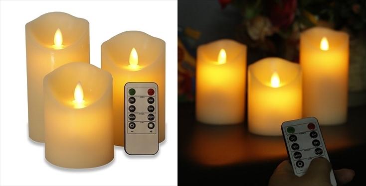 「Horich揺らぐ炎」は、本物のろうそくのように明かりが揺らめく仕様となっている。高さの違う3本のLEDキャンドルライトは、リモコンにより、OFFがタイマーや明るさの調整が可能。クリスマスが終わった後でも、冬の間は間接照明として楽しめそうだ。