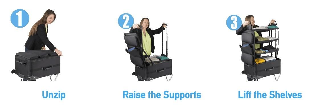 旅行は好きだが、パッキングは面倒だと感じる人もいるだろう。そんな方に紹介したいのが、「Shelfpack」。文字通りシェルフ(棚)のようなスーツケースだ。4段の棚がスーツケース内に収まるように設計されている。2