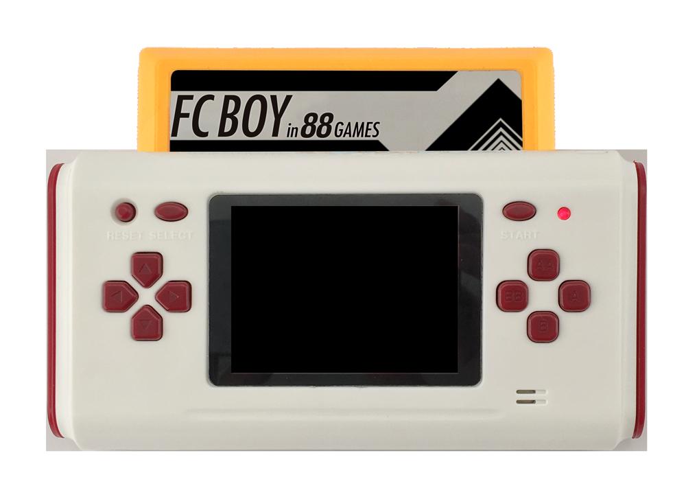 昔のファミリーコンピュータのゲームを遊ぶことができる、三栄書房から発売されたゲーム機「FC BOY in 88 GAMES」。テレビ出力も可能なので、ホームパーティにももってこい。内蔵された88のミニゲームに加えて、なんと当時のファミコンがプレイ可能。2