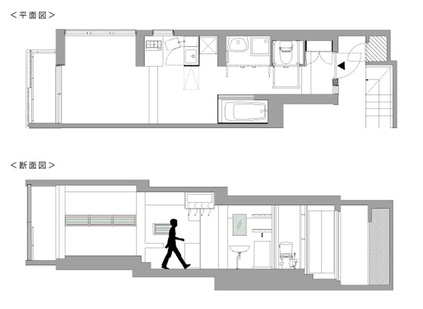 """不動産の企画やコンサルティングを手掛けるタカギプランニングオフィスが管理している、東京都品川区の「Scaletta」は、段差によって空間にリズムをつけ、""""引き出し""""や""""折りたたみ""""といった省スペースのテクニックを取り入れた賃貸マンション。細長いスペースを広く感じさせる工夫を施しているのが特徴。_1"""