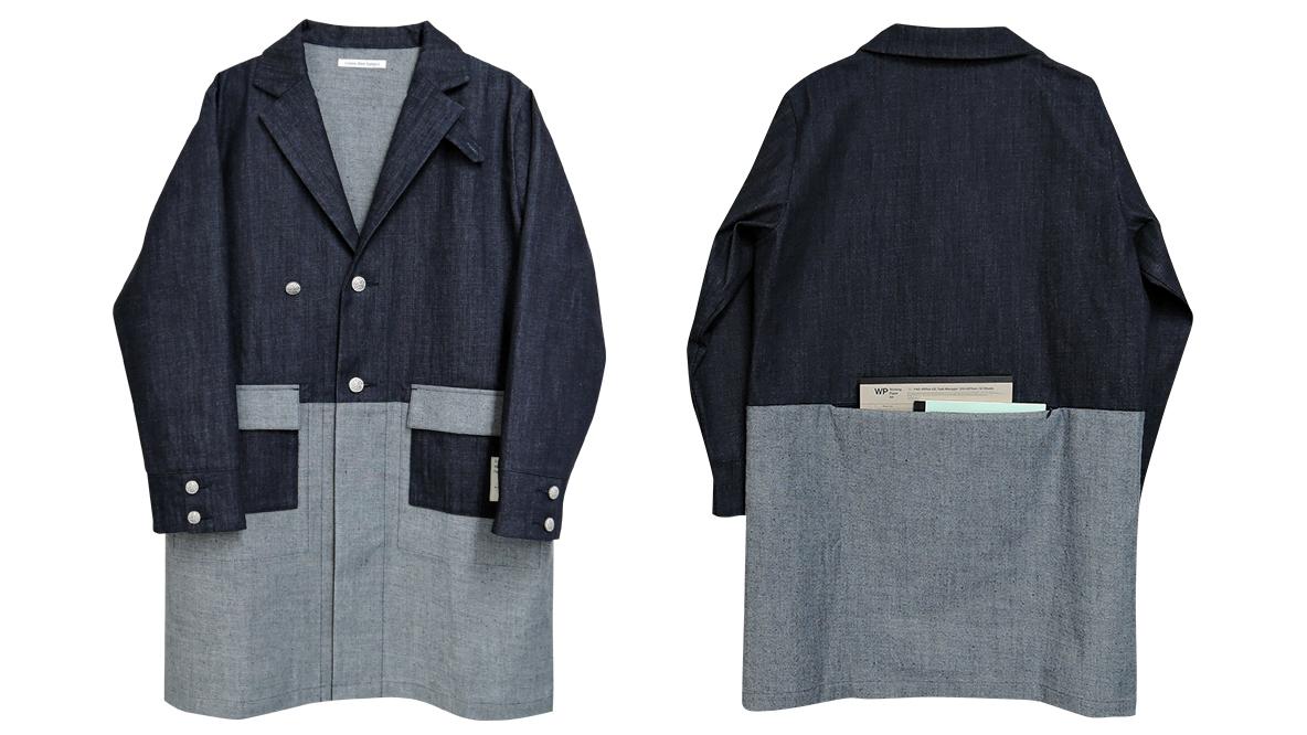 デザイナーの瀬口隆志さんが自身の体験からデザイン・制作した「10年着れる!手ぶらで外出できるジャケット」の紹介。ジャケットの後部にはA4ノートがすっぽり入る巨大ポケットが付いている。急にメモしなくてはならない打ち合わせが入ったら、後ろのポケットからA4ノートをサッと取り出せる。