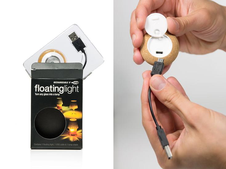 「floating light」は、その名の通り浮いている光だ。水を張ったグラスにポチャンと落としてつかうのだが、外側がコルクのため、沈まず水面に浮いてくれる。プカプカとした揺らめきが、キャンドルのそれのようで癒される。5