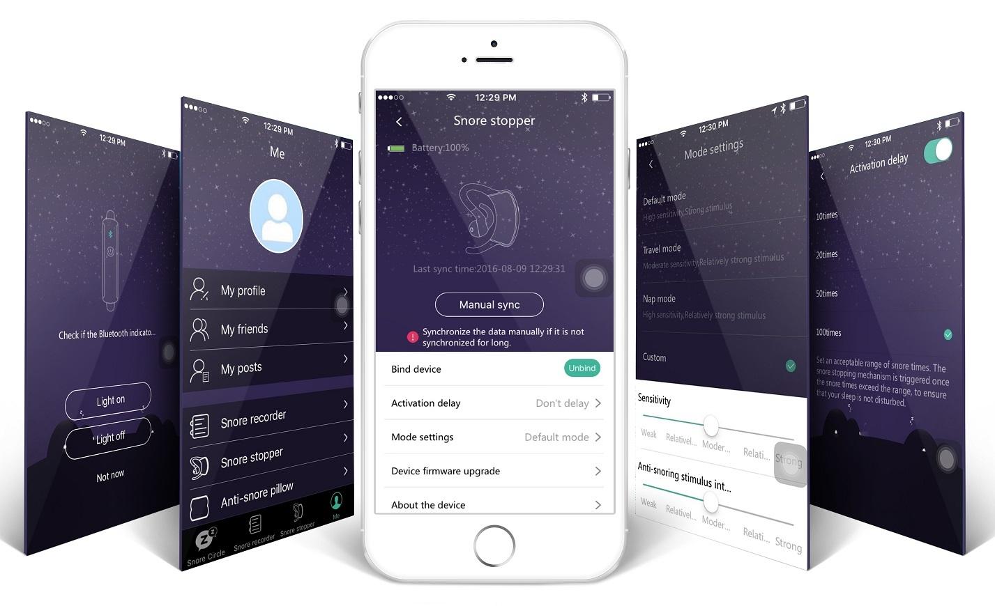 いびきで困っている人を助けるイヤホン型ガジェット「Snore Circle」のスマホアプリ