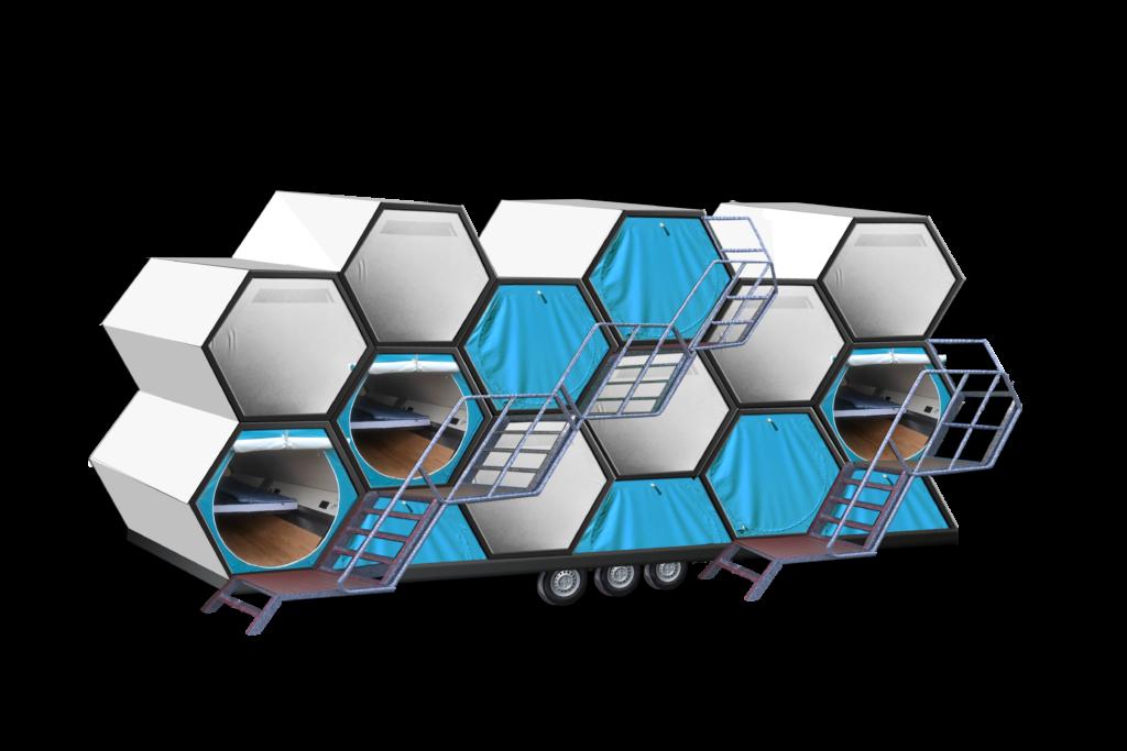 ベルギーの建築家やエンジニアによって作られた、快適な野外カプセルホテル「B-AND-BEE」。蜂の巣をイメージして作られたテントは、持ち運びが容易で、いくつかのユニットを連結できるので、大人数で行なう野外イベントに最適だ。災害時の一時的なシェルターとしての機能も果たす。6