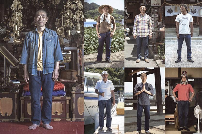 住職や農家、カフェ経営、海の男たちなど、いろんな職業やライフスタイルの人たちがデニムを穿いている