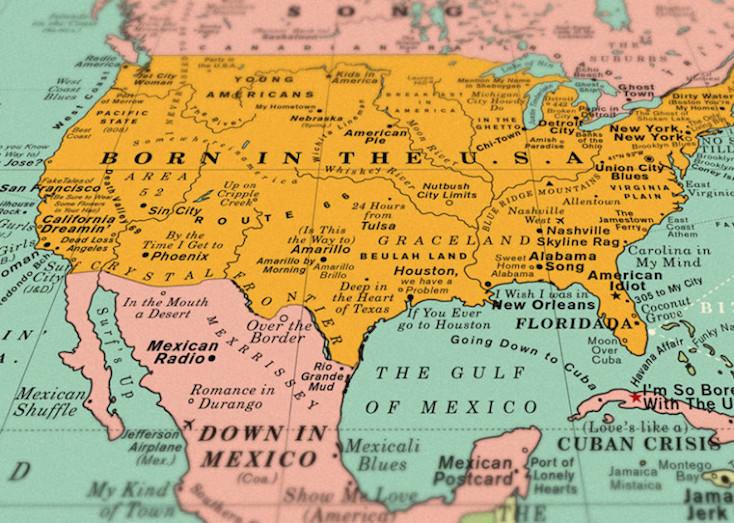 眺めているだけでも楽しい世界各国の地名を曲名に置き換えた世界地図