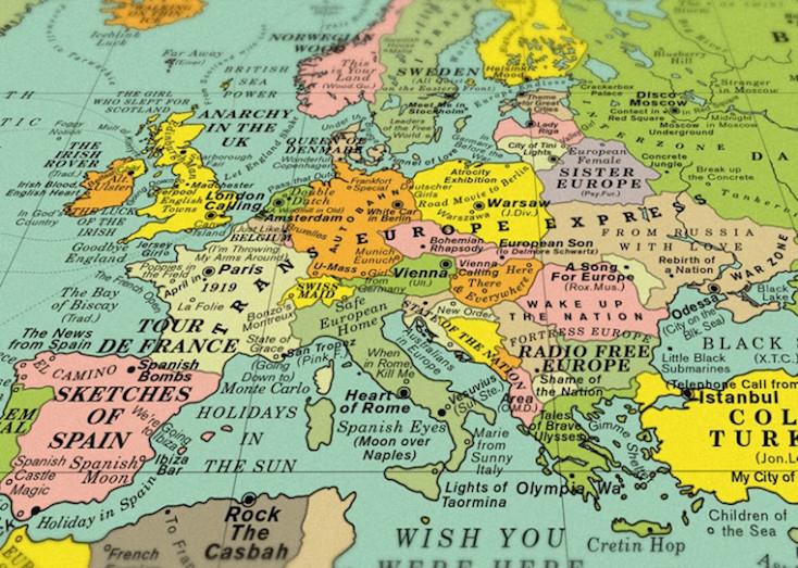 世界地図の1,000以上の国名・地名を曲名に置き換えた地図「World Song Map - Classic Edition」のご紹介。