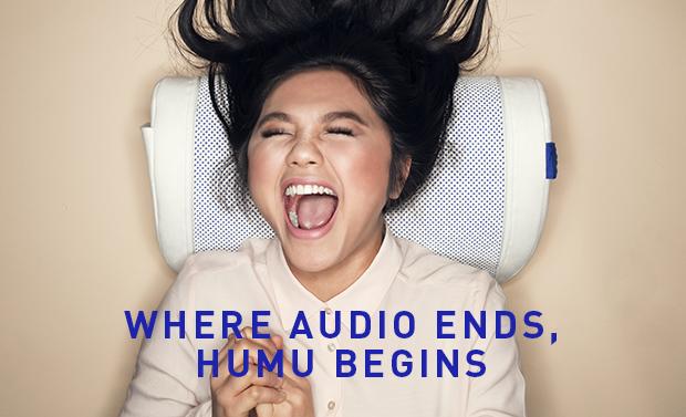 音を感じるためにデザインされたスピーカー・「Flexound HUMU」の紹介。映画館の大音量サウンドシステムのように、迫力ある自然の音や、声の息づかいを感じれるという。top