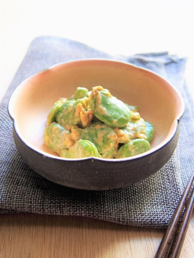 春らしいおもてなし料理、そら豆のふき味噌和え