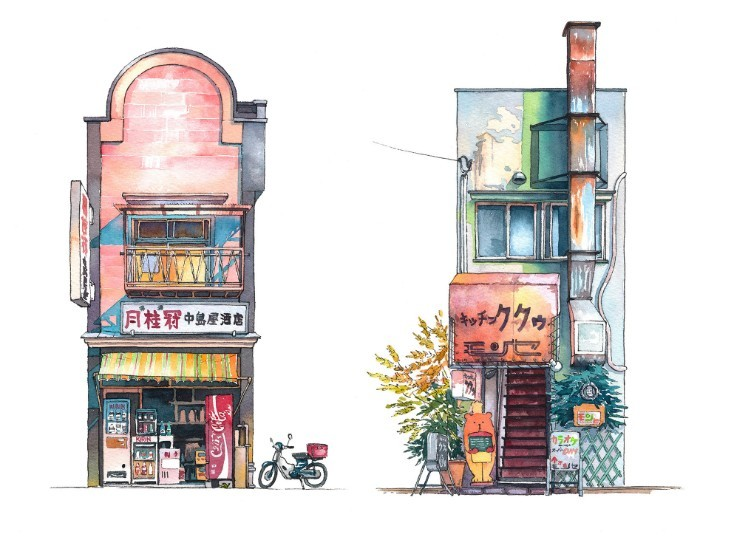 『君の名は。』で背景スタッフを務めたポーランド出身で東京在住のクリエイター、Mateusz Urbanowiczさんの「東京店頭シリーズ」