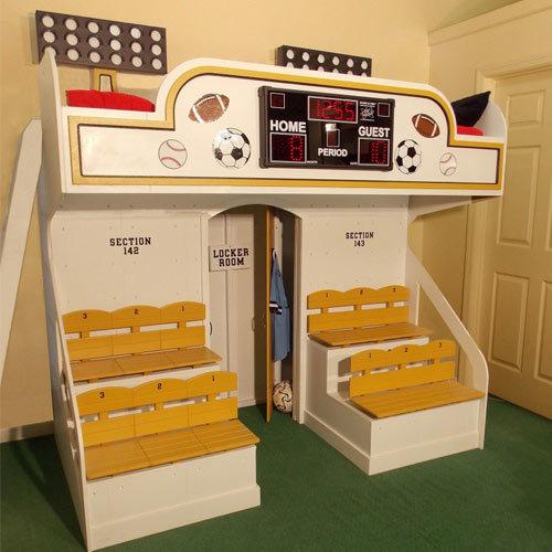 メジャーリーグなどのスポーツスタジアムのようなデザインのベッド