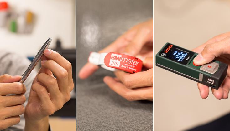 左:スペースペン/窒素ガスを封入した加圧式で、宇宙空間でも使用できるペン。「なめらかな曲面と鏡面仕上げが気に入って使っています」と平本さん。中央:レーザー距離計/ボタンを押すだけで瞬時に正確な距離をはかることができるレーザー距離計。全長10cm、重さ80gのコンパクトタイプで、携帯にもかさばらならない。右:ポケットメジャー/ストッパーを押すとメジャー部分が飛びでるタイプのメジャー。
