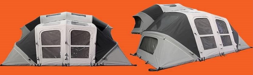 自分でポールを組み立てずとも空気で自動にテントが張れる