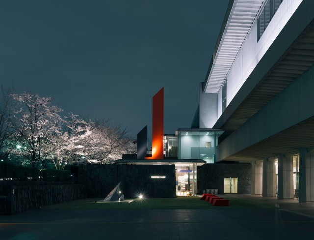ライトアップで、桜もイサム・ノグチの「門」も、夜はまた違った趣です