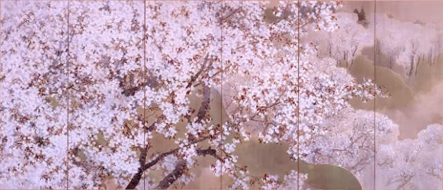 菊池芳文《小雨ふる吉野》左隻 1914年(展示期間2/18〜4/16)
