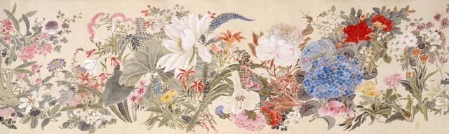 田能村直入《百花》(部分)1869(明治2)年 絹本・彩色 山種美術館