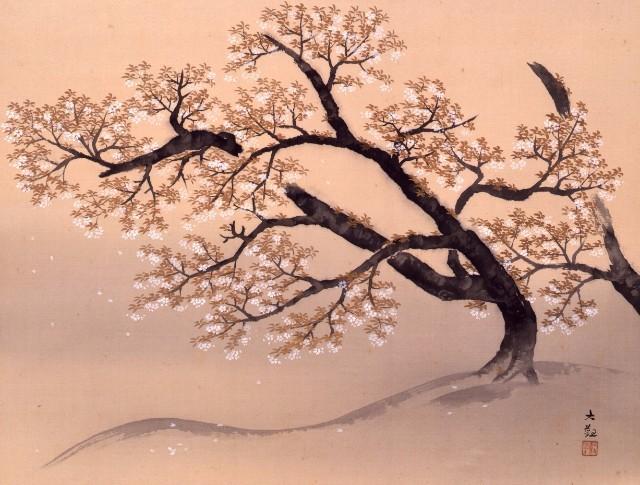 横山大観《山桜》1934(昭和9)年 絹本・彩色 山種美術館