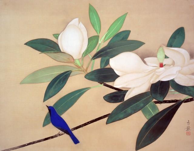 小林古径《白華小禽》1935(昭和10)年 絹本・彩色 山種美術館