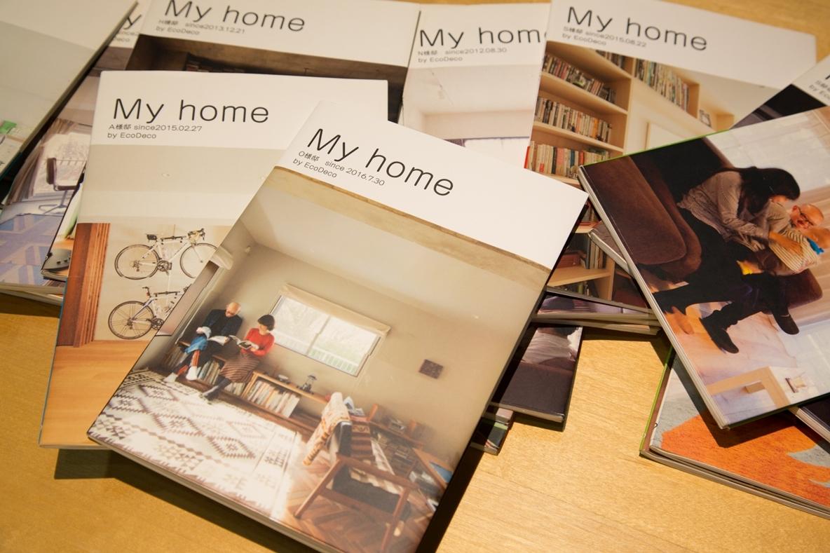EcoDecoでは、完成した物件の写真を1冊の本にして贈っている
