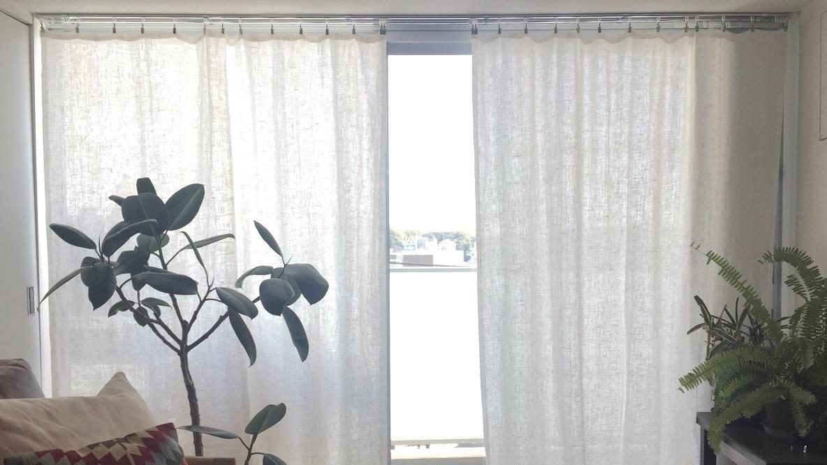 IKEAのクリップ付きカーテンフックで、リネンカーテンを作成