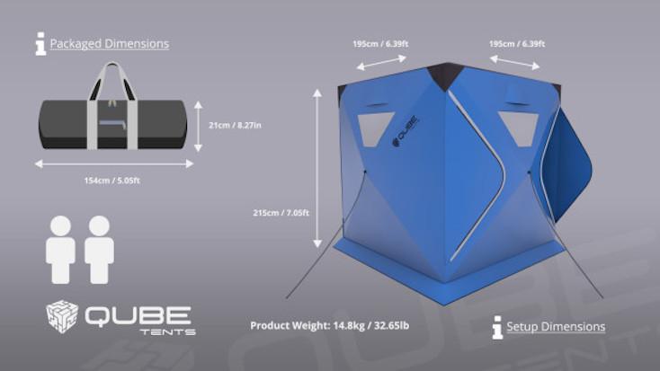 「Qube Tents」の種類は2~4人用があり、色は青、赤、オレンジ、そして黒緑の4つがある
