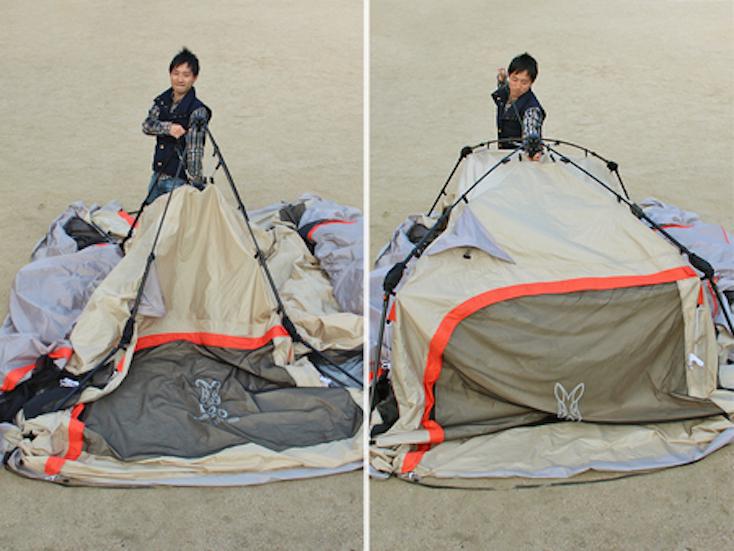初心者向けの広いテントワンタッチビッグダディは、設営が楽