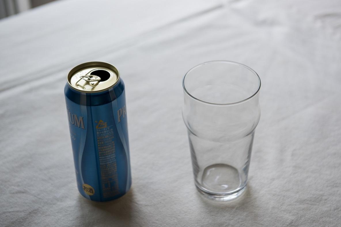 500ml入る無印良品のビールグラス