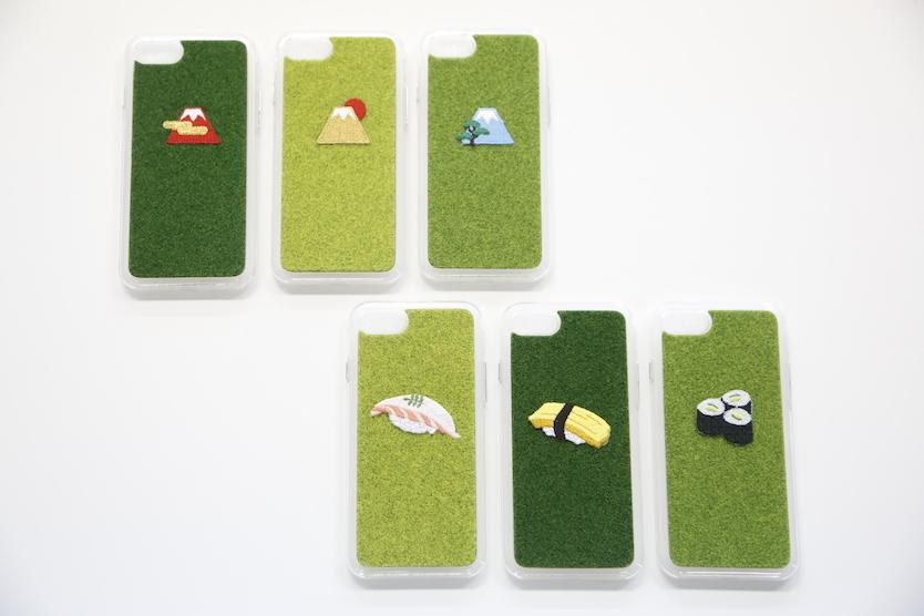 動物の刺繍入りの芝生のiPhoneケースshibaful