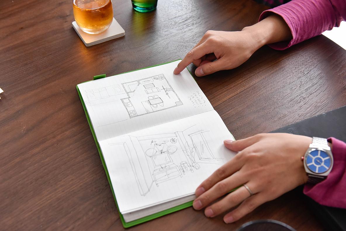 陽亮さんが描いた部屋の完成予想図