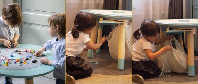 テーブルのすぐ下には取り外し可能なバッグが取り付けられていて、レゴなどを使ったあとは真ん中の穴から袋へ落とすようにして収納