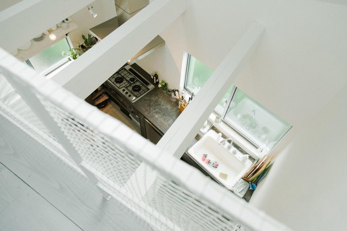 スキップフロアで天井の高い都心の部屋
