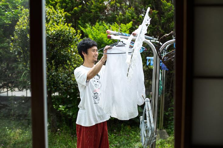 素敵な庭での洗濯