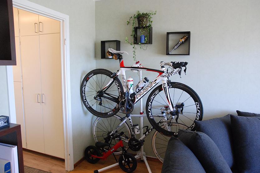 自転車が置かれたスウェーデンの家