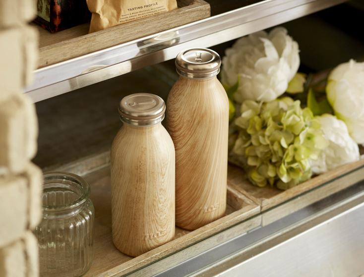 おしゃれな牛乳瓶モチーフで木目調のステンレスボトル