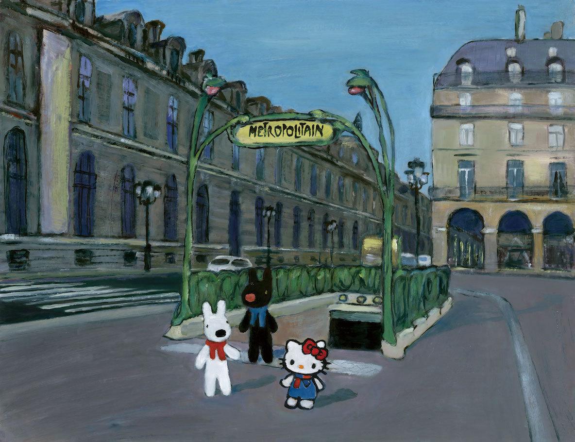 ハローキティが、リサとガスパールの住むパリにプライベートジェットで訪れ、友情を育む