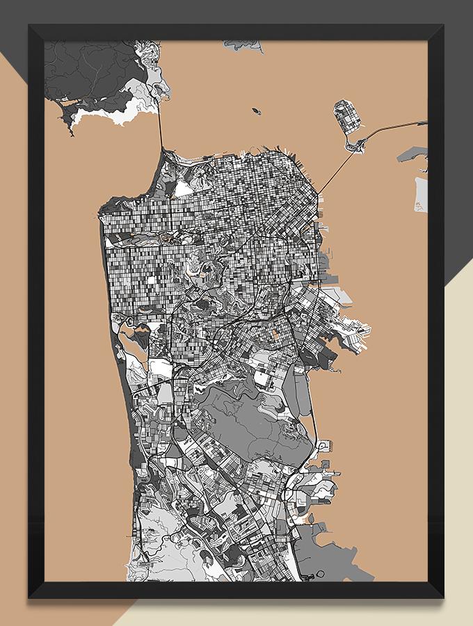 カラフルでおしゃれなModern Map Art Prints