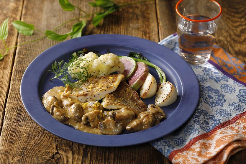 白身魚と鎌倉野菜のソテー