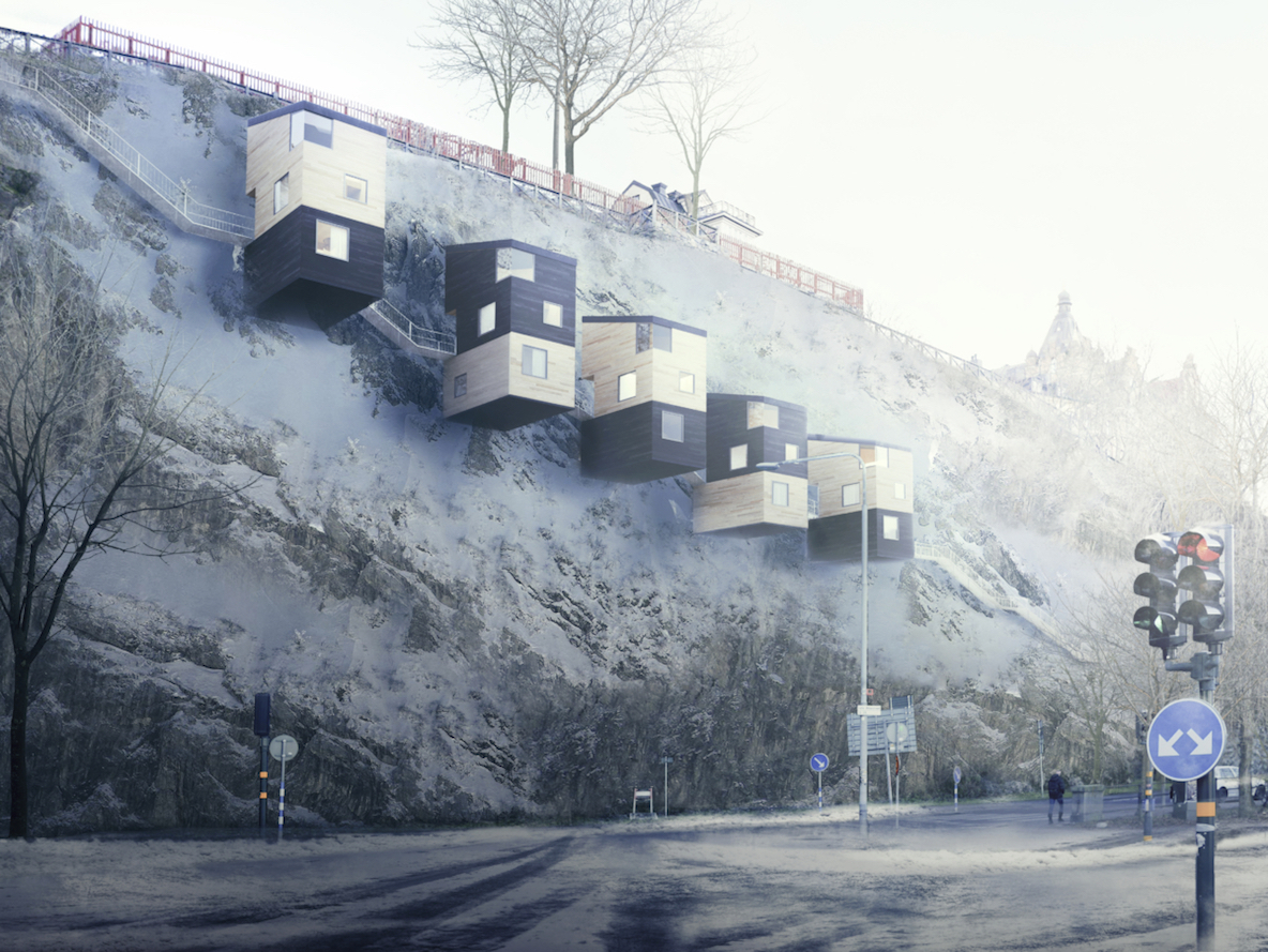 鳥の巣のように、崖の壁面に建つ家