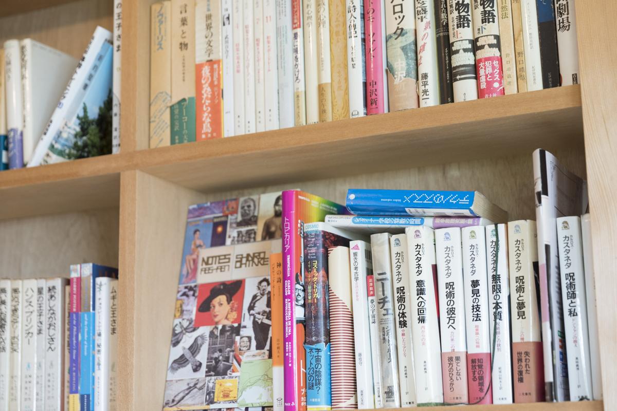 本棚に囲まれ、ソファにもなる本小屋