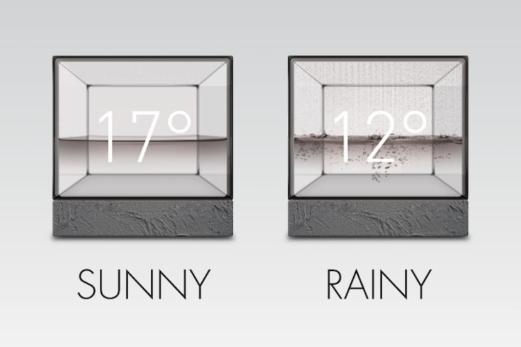 水の動きで天気が分かる時計「Weather Cube」