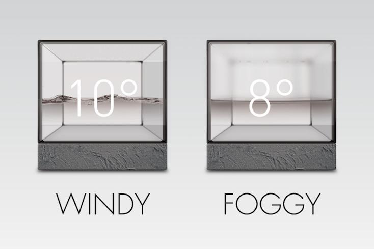 水の動きで天気が分かる、時計と温度計もついた「Weather Cube」