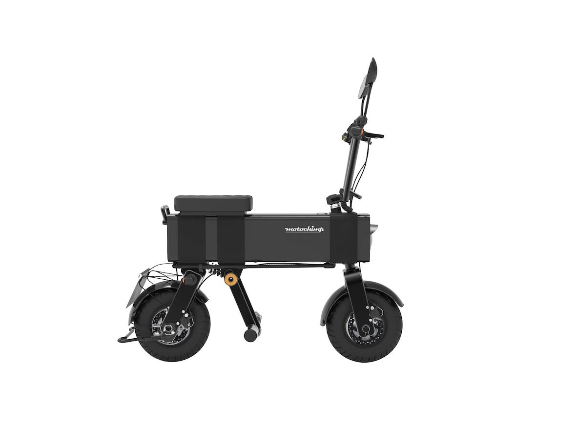 ブラックカラーの電動バイク「Motochimp」