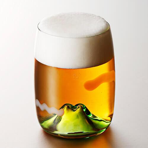 月夜野工房の「ビールグラス 夕焼けのやま」