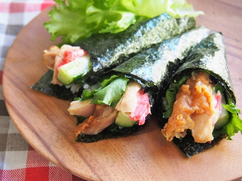 ケンタッキーフライドチキンの活用レシピ:チキン手巻き寿司